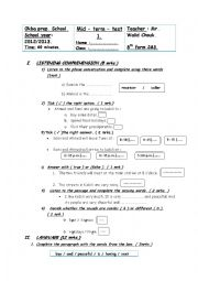 mid term test 1 8th form