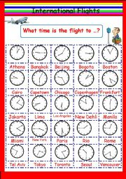 English worksheet: Intl Flights Time Telling Game