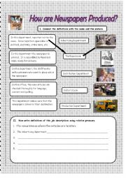 English Worksheet: How are Newspapers Produced?