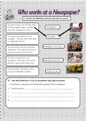 English Worksheet: Who Works at a Newspaper?