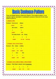 English Worksheet:  Basic Sentence Pattern