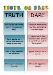 English Worksheet: TRUTH OR DARE!!!!