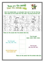 English Worksheet: These are the sounds that the animals make
