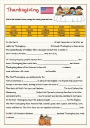 English Worksheet: Thanksgiving-  fill in the gaps