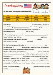 English Worksheet: Thanksgiving-  fill in the gaps