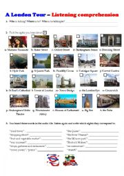 English Worksheet: A Tour of London - Listening Comprehension (key + script)