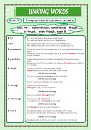 English Worksheet: LINKING WORDS (Conjunctions + Adverbs) Page - 03