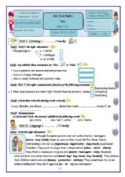 English Worksheet: 9 Th Form Mid-Term English Test (Term 1)