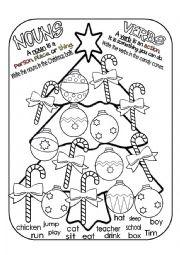 English worksheets Christmas Noun Verb Sort
