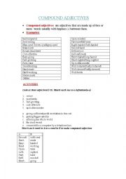 English Worksheet: word formation: compound adjectives