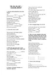 English Worksheet: Oh My My My - Taylor Swift