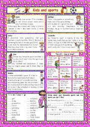 English Worksheet: Kids and sports (+Key)