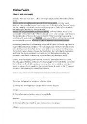 English Worksheet: Passive voice - obesity