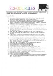 English Worksheet: Discussing school rules