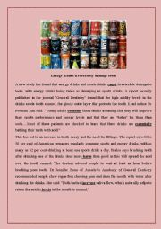 English Worksheet: energy drinks reading comprehension