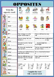 English Worksheet: opposites part1