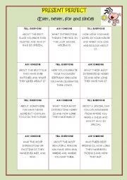 PRESENT PERFECT CARDS. ASK&TELL