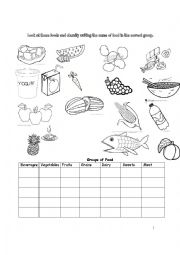 classifying food there is an exercise about food students must ...