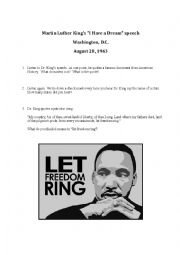 English Worksheet: Martin Luther King�s �I Have a Dream� speech
