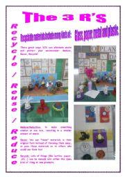 English Worksheet: In my School: REDUCE, REUSE, RECYCLE!