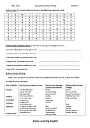 English Worksheet: Group session about family 9th form