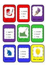 English Worksheet: Color Card Game