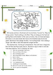 English worksheet: a picnic day