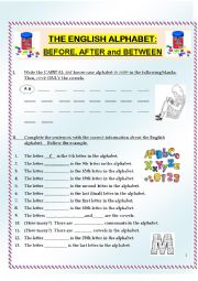 English Worksheet: Alphabet Practice:  Letter Order, including before, after and between (3 pages)