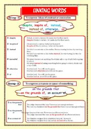 English Worksheet: LINKING WORDS (Conjunctions + Adverbs) Page - 05