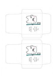 English Worksheet: teeth care envelops and cards
