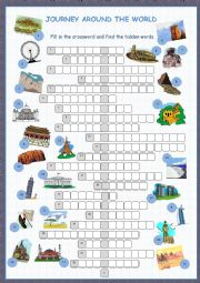 English Worksheet: Journey Around The World Crossword Puzzle
