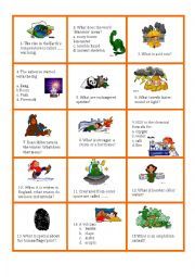 English Worksheet: Science trivia card game no 1/2