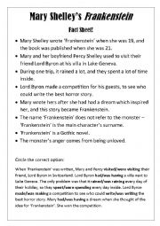 English Worksheet: Mary Shelley Frankenstein Fact Sheet