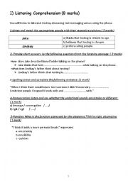 English Worksheet: Mid term test 1 for second year students