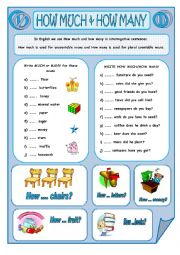 English Worksheet: HOW MUCH & HOW MANY