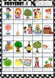 English Worksheet: PROVERBS 1 + KEY