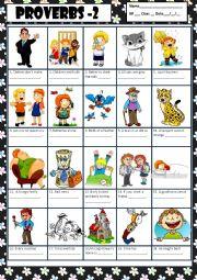 English Worksheet: PROVERBS 2 + KEY
