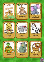 English Worksheet: Wild animals flashcards
