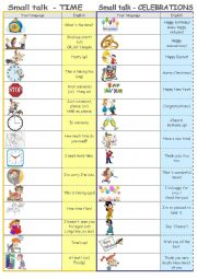English Worksheet: Small talk by topics - TIME & CELEBRATIONS (editable)