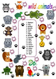 English Worksheet: wild animals matching