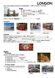 English Worksheet: London Video