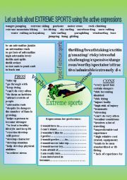 English Worksheet: EXTREME SPORTS. Active words and expressions for everybody.