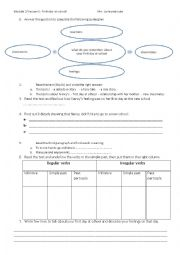 English Worksheet: first day at school