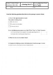 English Worksheet: Global English Test  N� 1 9th FBT