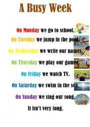 English Worksheet: A Busy Week