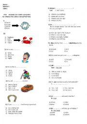 English Worksheet: 7 th grade 1st term 1st exam