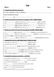 English Worksheet: TEST CONDITIONAL 1 AND 2