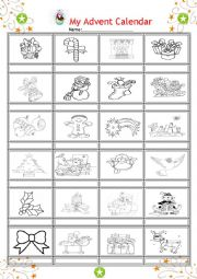 English Worksheet: My Advent Calendar part 4- kids worksheet