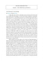 English Worksheet: Test on Environment (Global warming, climate change)