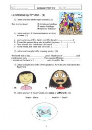 English Worksheet: a listening test about holidays